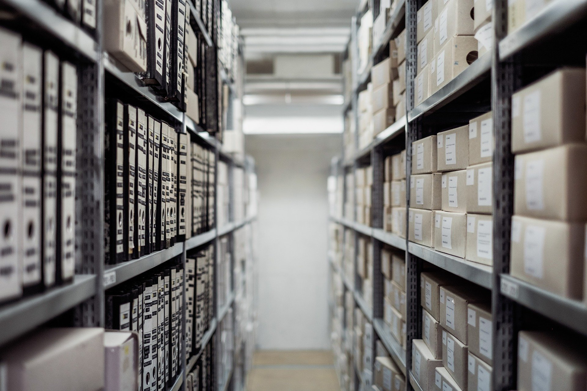 Boxes of documents in a storage.